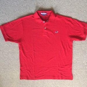 Red short sleeve pique polo shirt